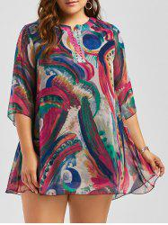Plus Size Studded Graffiti Printed  Chiffon Dress