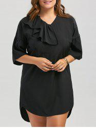 Plus Size Ruffle Flare Sleeve Short  Dress