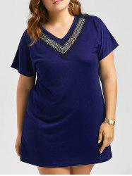Sequined Embellished V Neck Plus Size Tee Dress -