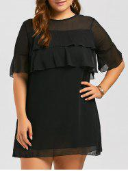 Plus Size Translucent Ruffle Tiered  Mini Chiffon Dress