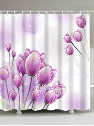 Waterproof Tulip Floral Print Bathroom Shower Curtain