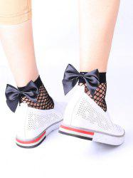 Fishnet Anklet Socks with Bowknot - BLACK