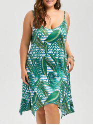 Plus Size Hawaiian Leaf Printed Cami Dress