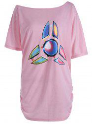 Plus Size Long Funny Fidget Spinner Printed T-Shirt