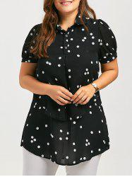 Polka Dot Plus Size Chiffon High Low Shirt