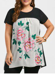 Plus Size Chiffon Floral Printed Tunic Top