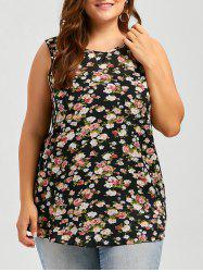 Plus Size Asymmetric V Neck Floral Chiffon Tank Top
