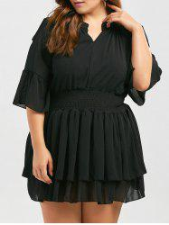 Bell Sleeve Cold Shoulder Dressy Plus Size Ruffle Top