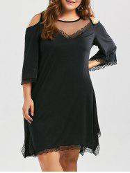 Plus Size Mesh Panel Cold Shoulder Handkerchief Dress