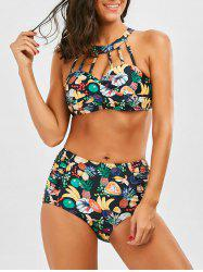 Strappy Twist Front Pineapple Bikini Set