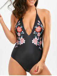 Halter Open Back Floral Swimsuit