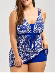 blue xl paisley and floral skirted plus size swimsuit | rosegal