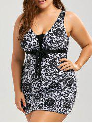Paisley and Floral Skirted Plus Size Swimsuit