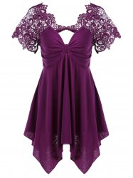Empire Waist Lace Trim Handkerchief Peplum T-Shirt - PURPLE