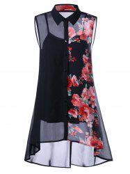 Plus Size Sleeveless Floral Button Down Blouse and Camisole - BLACK