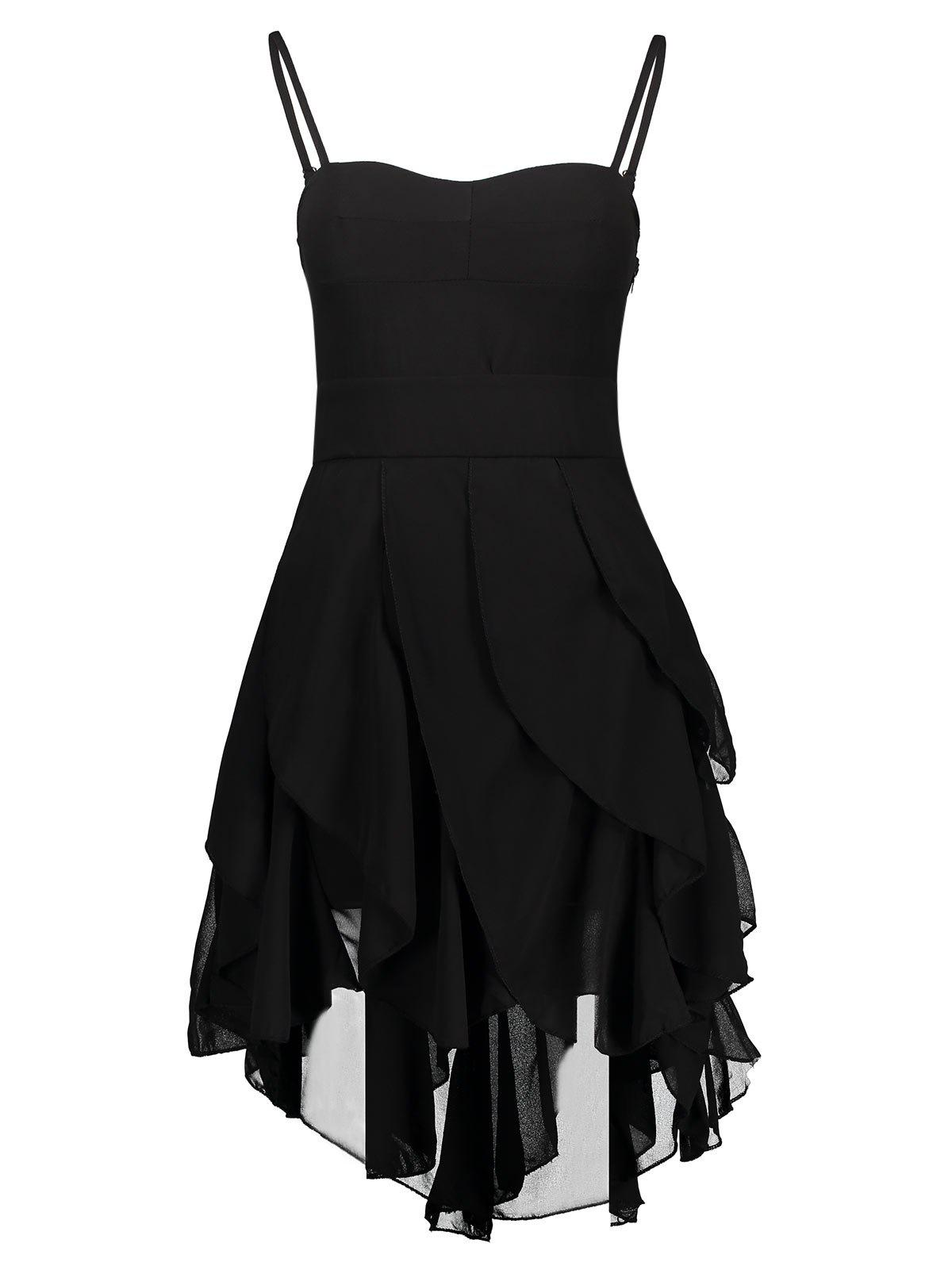 Hot Asymmetrical Flounce Slip Gothic Dress