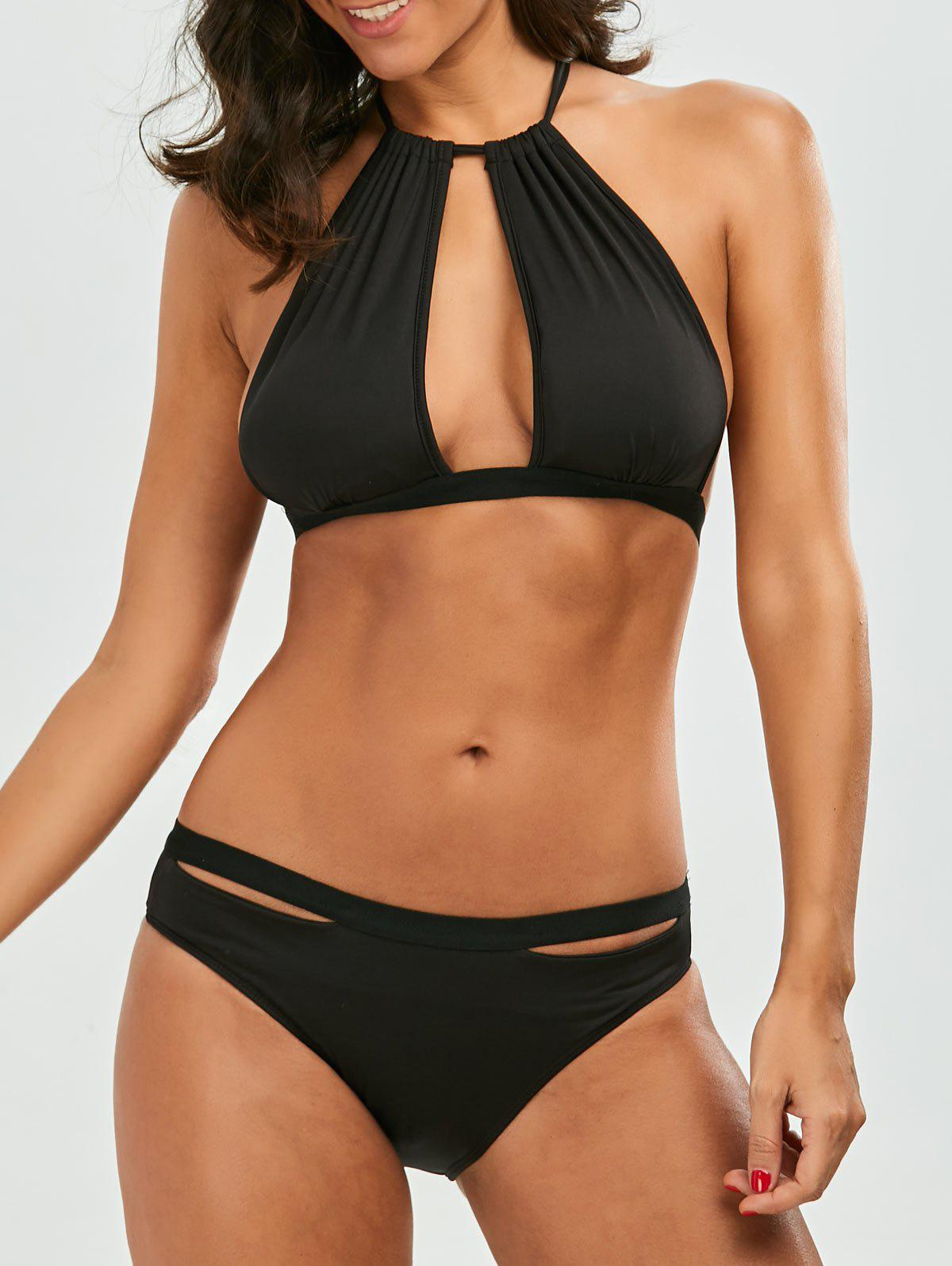 Hot Halter Split Front Padded Bikini Set