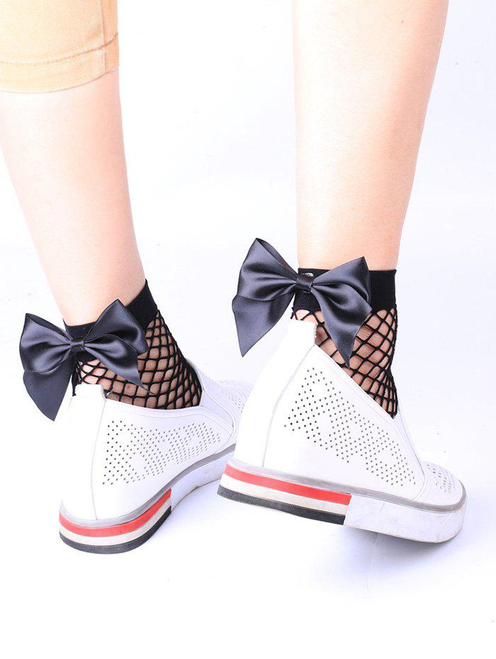 Fishnet Anklet Socks with BowknotACCESSORIES<br><br>Color: BLACK; Type: Socks; Group: Adult; Gender: For Women; Style: Fashion; Pattern Type: Bowknot; Material: Polyester; Weight: 0.0170kg; Package Contents: 1 x Socks(Pair);