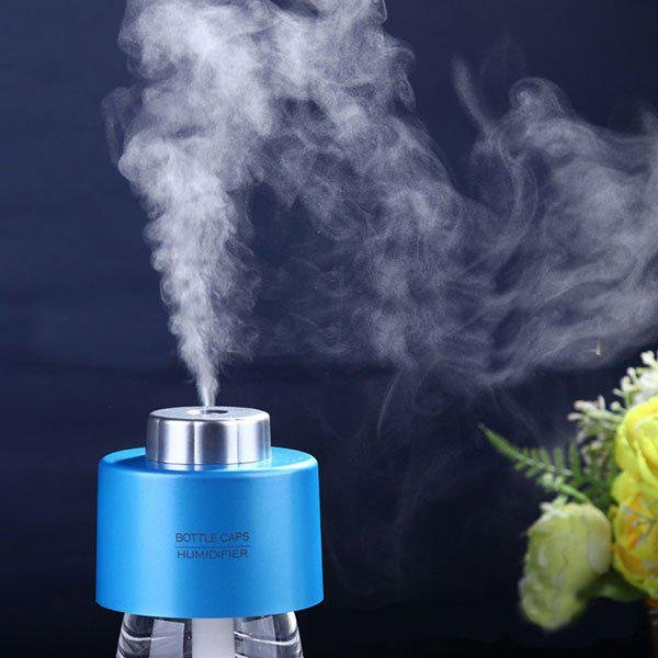 Mist Maker USB Portable Water Bottle Cap Mini HumidifierHOME<br><br>Color: BLUE; Products Type: Humidifier; Style: Novelty; Package Contents: 1 x Humidifier, 1 x USB Cable, 2 x Absorbent Filter Sticks;