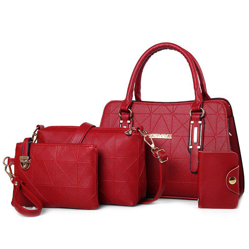 Geometric 4 Pieces Handbag SetSHOES &amp; BAGS<br><br>Color: RED; Handbag Type: Totes; Style: Fashion; Gender: For Women; Embellishment: Letter; Pattern Type: Solid; Handbag Size: Small(20-30cm); Closure Type: Zipper; Interior: Cell Phone Pocket,Interior Slot Pocket; Occasion: Versatile; Main Material: PU; Weight: 1.1690kg; Size(CM)(L*W*H): Handbag Size: 29*13*24; Package Contents: 1 x Handbag,1 x Crossbody Bag,1 x Wristlet,1 x Card Bag;