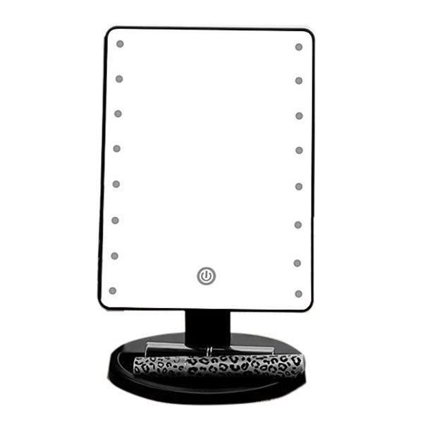 Adjustable Light 16 LEDs Touch Screen Desktop Makeup MirrorBEAUTY<br><br>Color: BLACK; Category: Mirrors; Features: Professional; Season: Fall,Spring,Summer,Winter; Weight: 0.7560kg; Package Contents: 1 x Mirror;