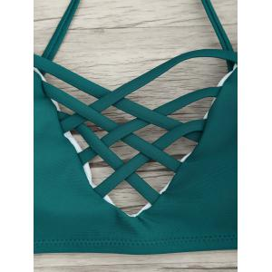 Criss Cross Bikini with Floral Pattern - LAKE GREEN M