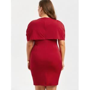 Longueur au genou Longueur au genou Bodycon Caped Formal Dress - Rouge 4XL
