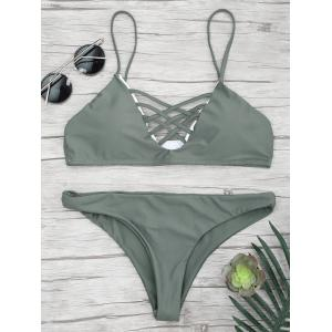 Lace Up Spaghetti Strap Bikini Set