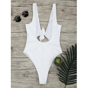 One Piece Ribbed Knot Backless Swimsuit - WHITE S