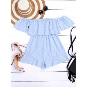 High Waist Flounce Striped Romper - STRIPE S