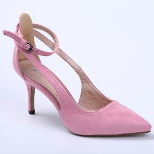 Ankle Strap Cut Out Pumps - Pink - 38