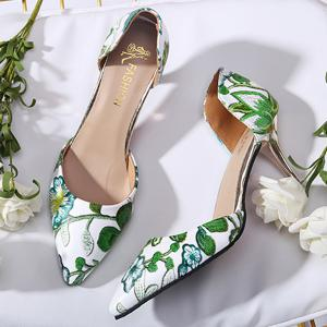 Floral Print Mid Heel Pumps - GREEN 39