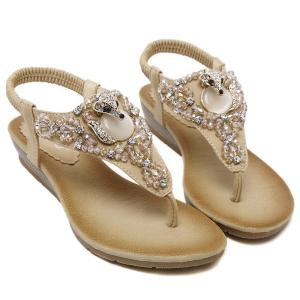 Elastic Band Rhinestones Faux Leather Sandals - Apricot - 38