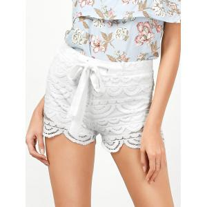 Drawstring Cut Off Lace Shorts - White - S