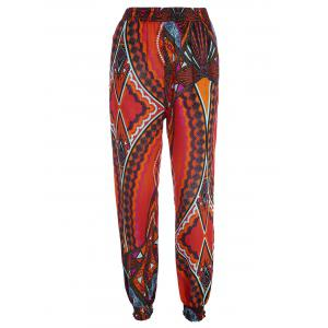 Tribal Print High Waisted Pants with Pockets - Jacinth - 2xl