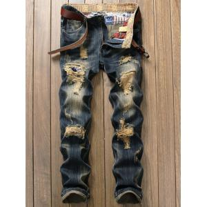 Destroyed Patch Design Zipper Fly Jeans - Denim Blue - 32