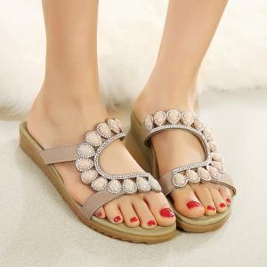 Faux Leather Beads Flat Heel Slippers
