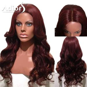 Adiors Center Part Long Body Wave Synthetic Wig - Burgundy - 24inch
