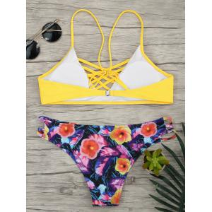 Lace Up Floral Straps Bikini Set -