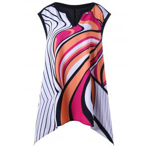 Split Neck Graphic Plus Size Tank Top