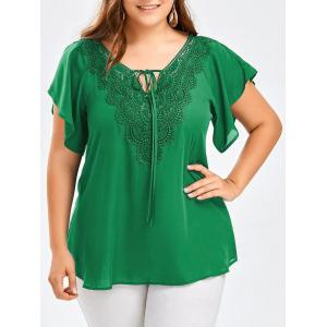 Plus Size Lace Panel Tie Front Blouse - Green - 2xl