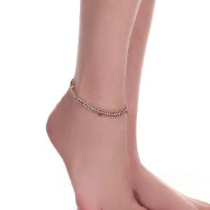 Layered Rhinestone Rose Flower Chain Anklet