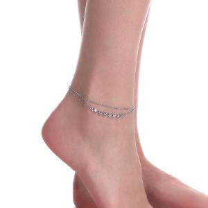 Layered Rhinestone Chain Anklet -