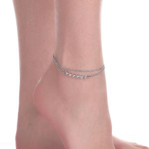 Layered Rhinestone Chain Anklet