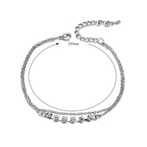 Layered Rhinestone Chain Anklet - SILVER