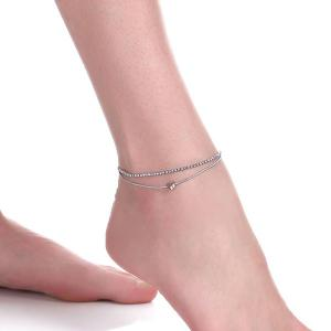 Rhinestone Layered Heart Charm Anklet