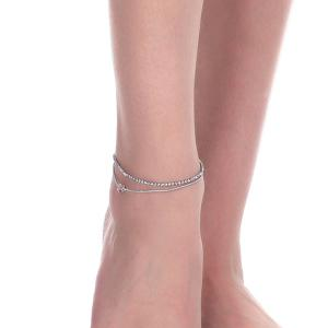 Rhinestone Layered Heart Charm Anklet - SILVER