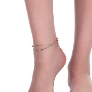 Rhinestoned Star Multilayered Chain Anklet - GOLDEN
