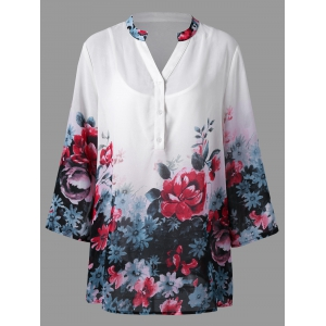 Plus Size Floral Split Neck Blouse with Camisole - White - 5xl