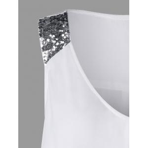 Plus Size Sequined Sleeveless Shoulder Overlap Blouse - WHITE XL